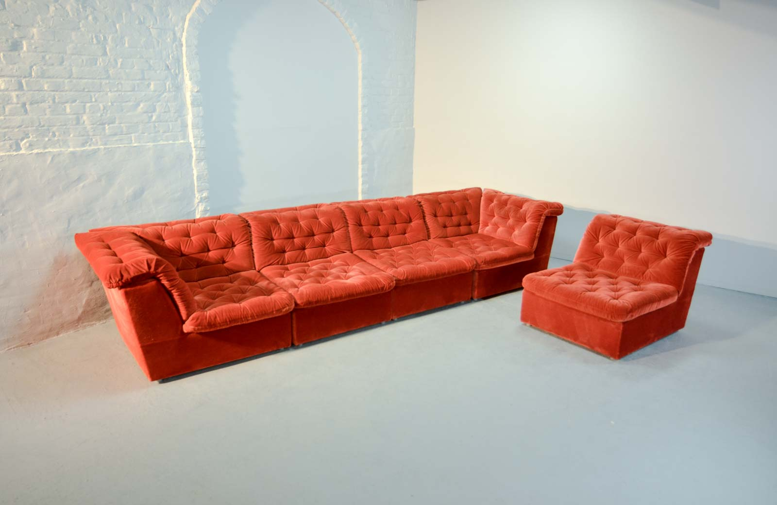 bright sofa sectional sleeper with recliner mid century vermilion red velvet 1970s modular