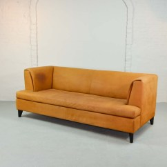 Nubuck Leather Sofa Replacement Bed Spring Mattress Mid Century Cognac Colored By Paolo