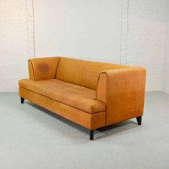 Nubuck Leather Sofa Bloom Mid Century Cognac Colored By Paolo