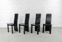 Set of 4 Mid-Century Black Sadle Leather High Back Dining ...