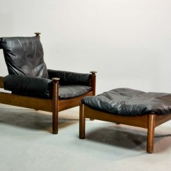 Black Leather Lounge Chair With Ottoman Hickory Louis Xvi Sturdy Mid Century Scandinavian