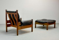 Sturdy Mid-Century Black Leather Scandinavian Lounge Chair ...
