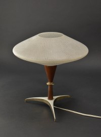 Mid-Century Decorative Atomic Tripod Teak Brass Glass ...
