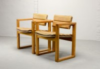 Mid-Century Pair of Dutch Design Camel Leather Cubic ...