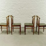 Set Of Four Swedish Designed Oak Wood Olive Green Dining Chairs 1960s Hpvintage Com