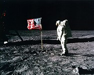 Buzz Aldrin saluting U.S. flag on the Moon
