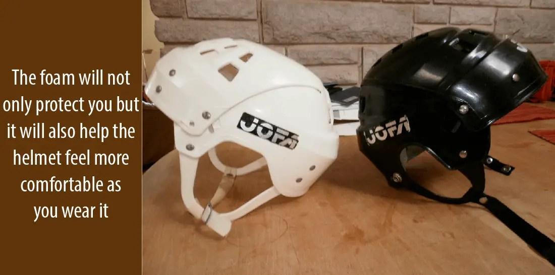 Padding of hockey helmets