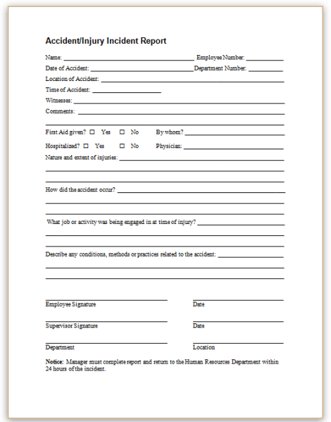 This sample form may be used to promptly report employee