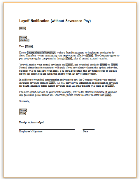 Layoff Notification Without Severance Pay
