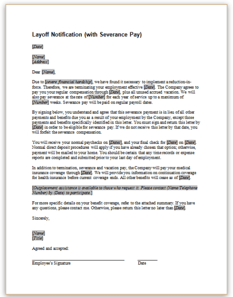 Layoff Notification With Severance Pay