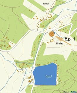 Mapa Hradce s vyznačenou usedlostí č.p. 1.