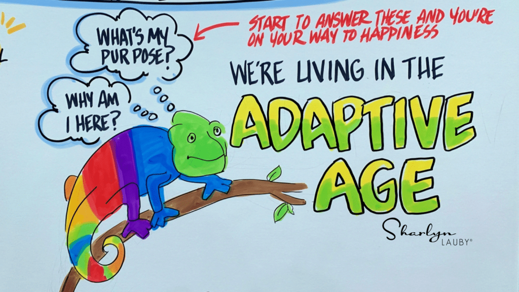 whiteboard drawing showing businesses in the adaptive age relative to employee retention
