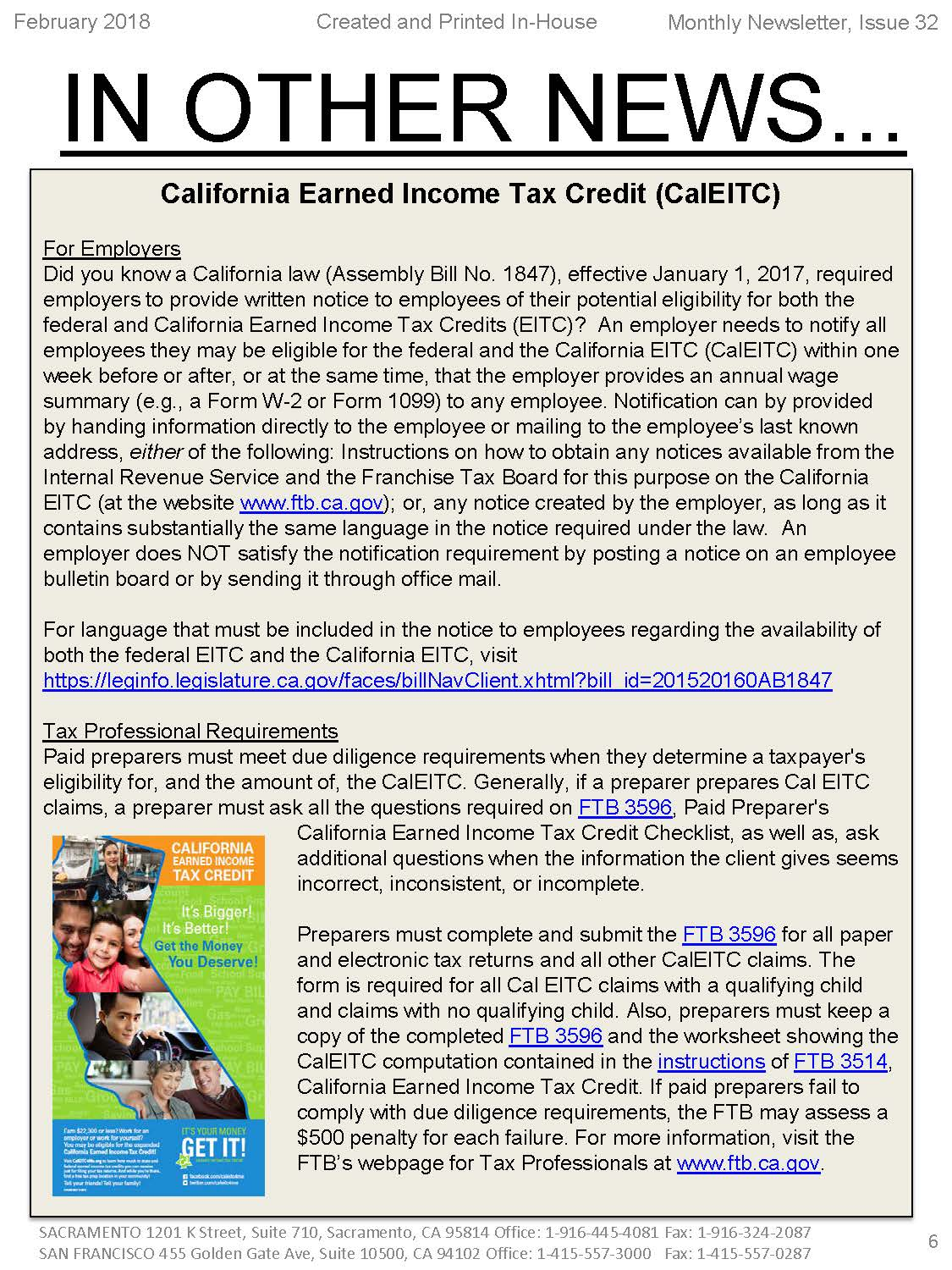 California Earned Income Tax Credit Caleitc