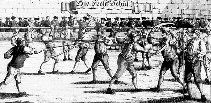 """Немецкая школа. На дальнем плане студенты с """"фехтшвертом"""", на переднем слева -направо: копьё, дюссак. 1726 год(!) / FECHTSCHULE FROM CA 1726 USING FECHTSCHWERTE"""