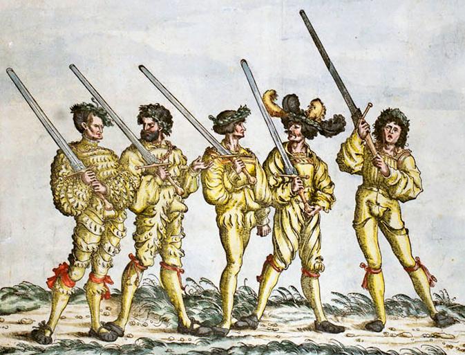 """Фехтовальщики из """"Триумфа Максимилиана"""" / FENCERS FROM TRIUMPHZUG DER KAISER MAXIMILIAN, 1526."""