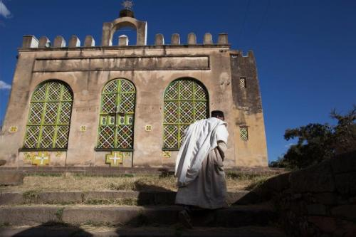 Priest on his way to church in Axum, Tigray region, Ethiopia on January 25, 2011.