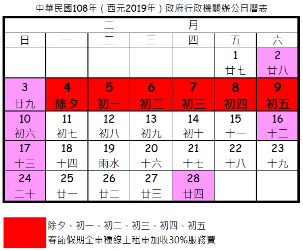 2019年(民國108年)春節假期全車種線上租車加收30%服務費