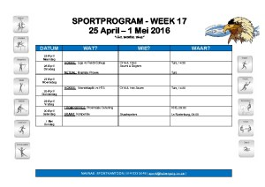 thumbnail of SPORTWEEK 17 25 April – 1 Mei 2016