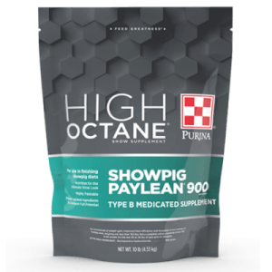 Purina High Octane Showpig Paylean 900 Medicated Supplement. Grey and teal 10-lb pouch