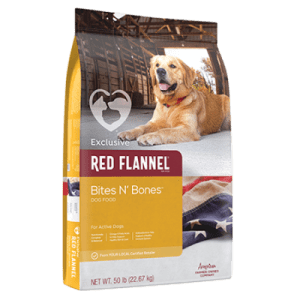 Red Flannel Bites N' Bones Dry Dog Food. Yellow pet food bag.