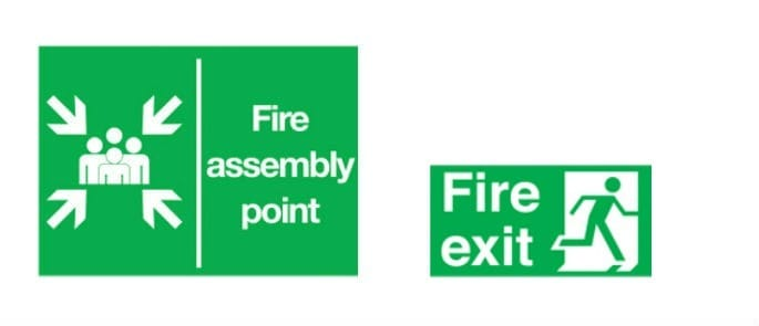 What will square or rectangular, green signs with white pictograms typically indicate