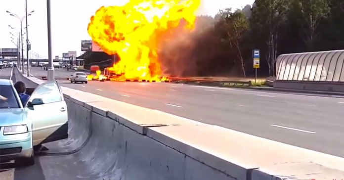Scary Accident When Hazmat Truck Crashes on a Busy Highway, While Hauling Explosive Material