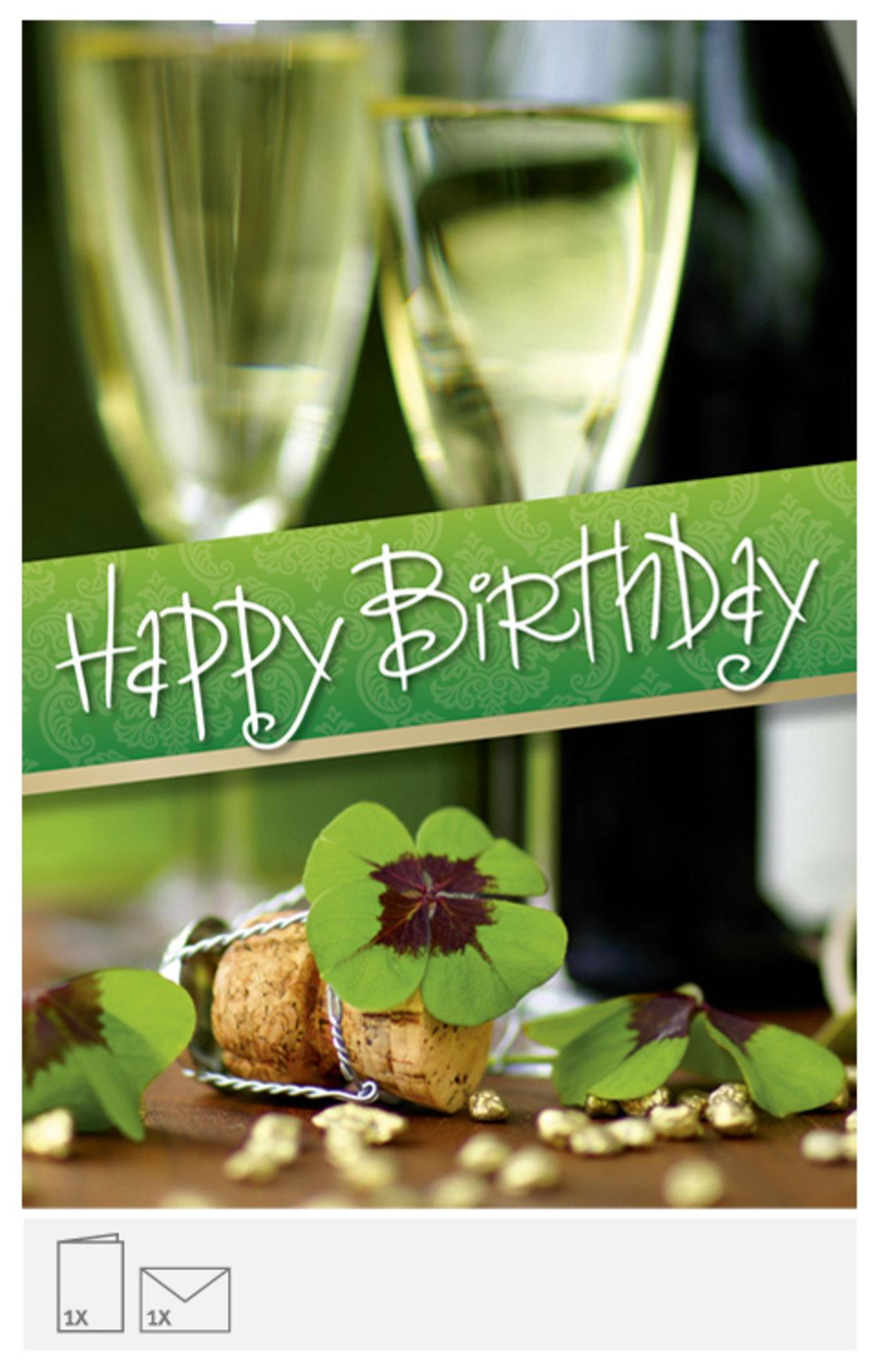 Geburtstagskarte Champagner und Kleeblatt