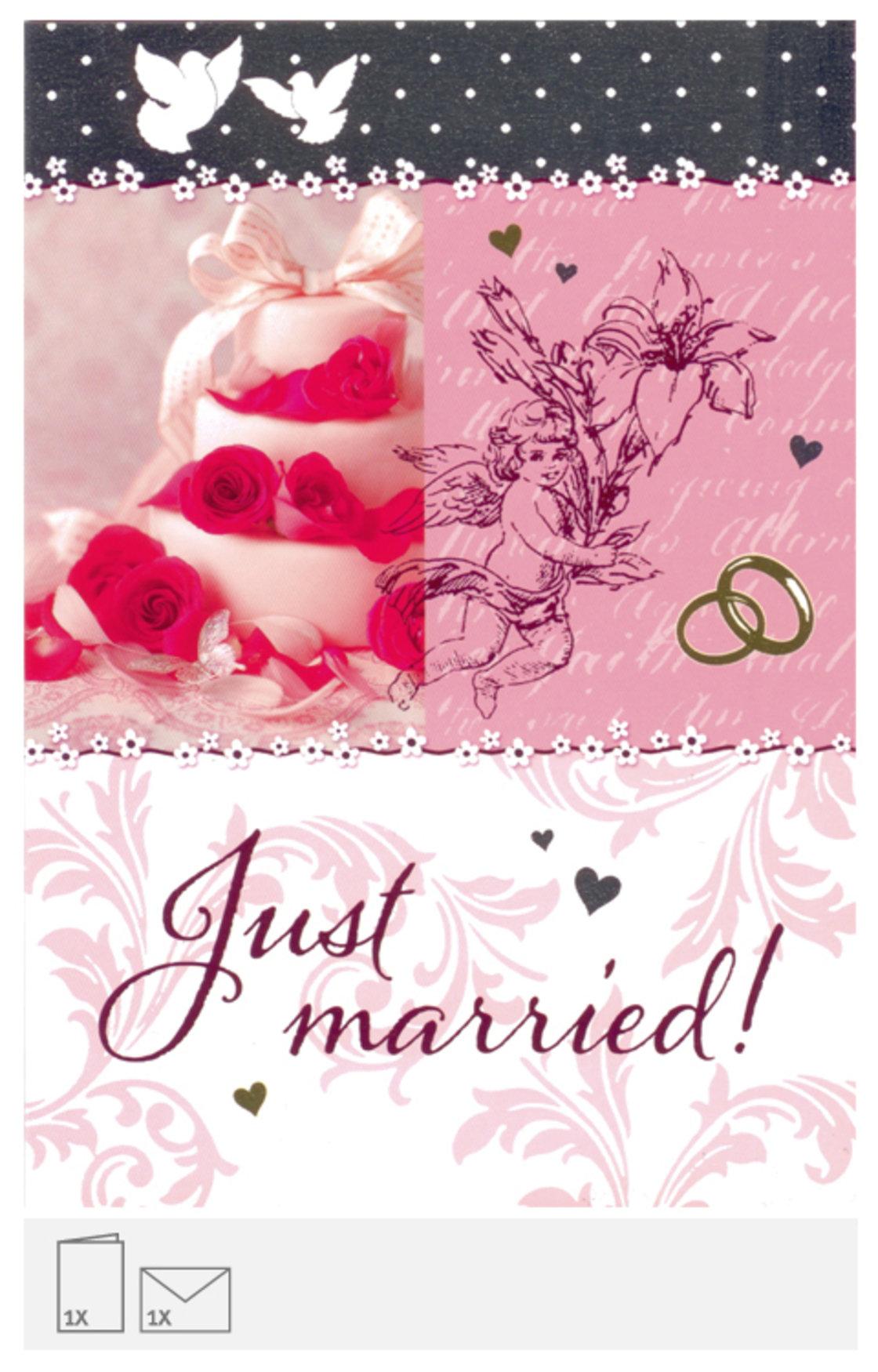 Karte zur Hochzeit Just Married mit Torte