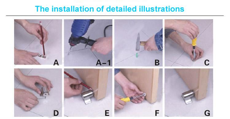 Magnetic Door Stop Catch Holder Installation Detailed Illustrations