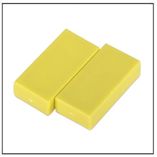 1″-x-1-2″-x-1-4″-block-yellow-plastic-coated-ndfeb-magnet