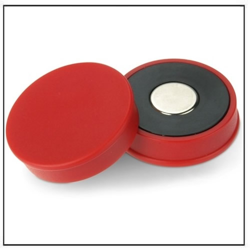 Red Strong Neodymium Round Magnet in Plastic Housing