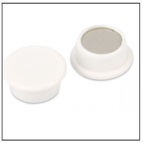 White Round Office Neodymium Magnet in Plastic Housing