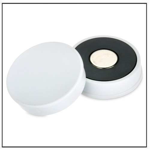 White Strong Neodymium Round Magnet in Plastic Housing