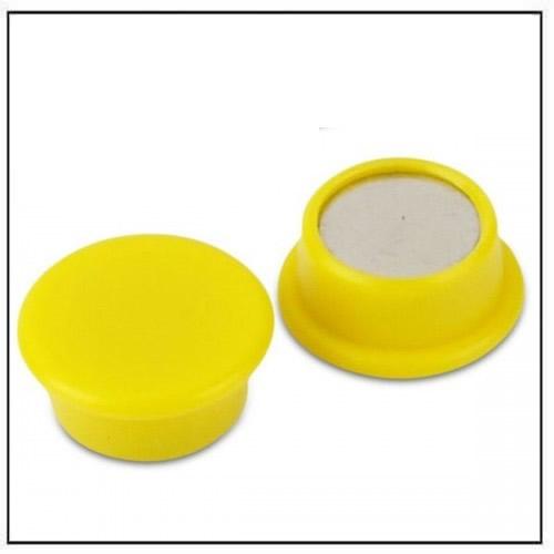 Yellow Round Office Neodymium Magnet in Plastic Housing