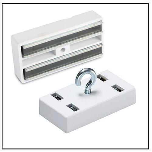 Block Ferrite Magnet with Hook, White, Plastic Housing