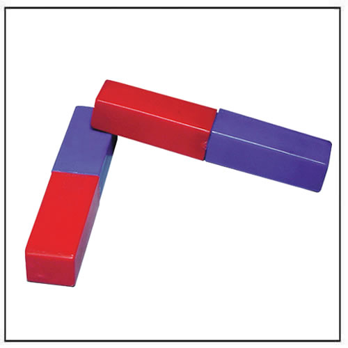 Plastic Covered Bar Magnets Red and Blue
