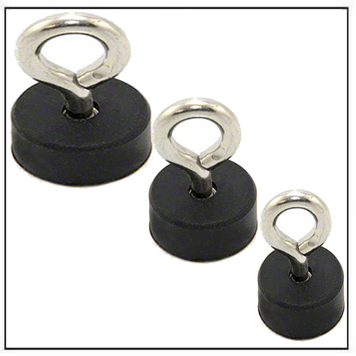 Rubber Coated Pot Magnets with Eyebolt