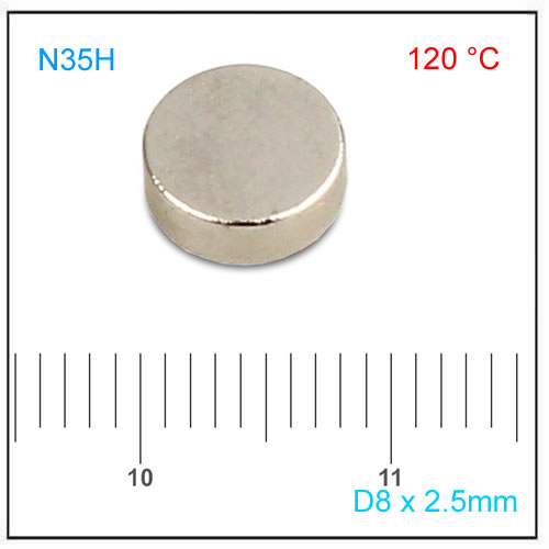 D8x2.5mm Diametral Magnet Disc N35H