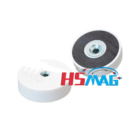 White plastic coating countersunk ferrite pot magnet