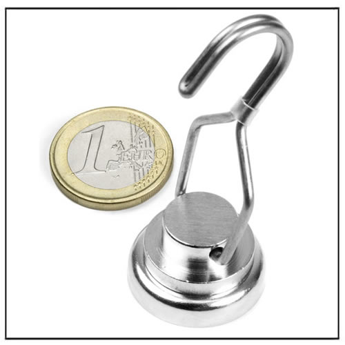 Ø 25mm Pot Magnet with Rotating Hook