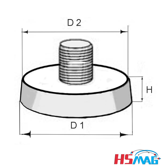 NdFeB Inserted Socket Fixing Magnet dimension
