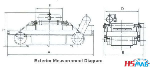 HSRCDF series Self-Cleaning Oil Cooling Electromagnetic Separator Drawing