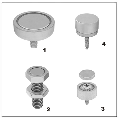 Encased NdFeB Magnets with Threaded Stud