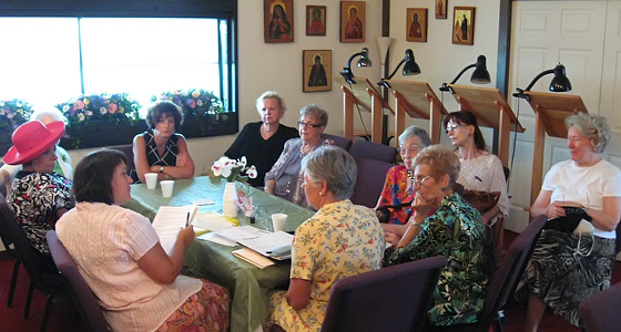 The Womens Guild holds their monthly meeting.
