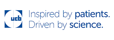 "Logo de UCB Pharma, partenaire de HSPC, avec son slogan ""Inspired by patients. Driven by science.""."