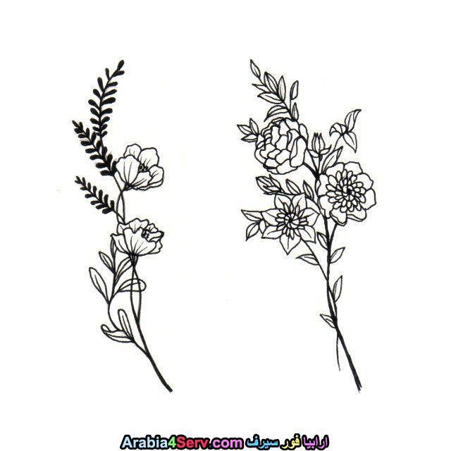 لوحات و رسومات زهور ابيض و اسود روعة