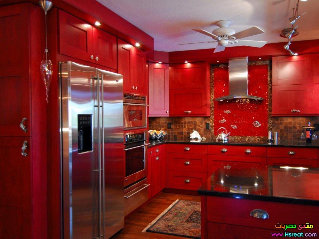 red kitchen light shades stainless مطابخ الوميتال باللون الاحمر اجمل موديلات مصرية عصرية