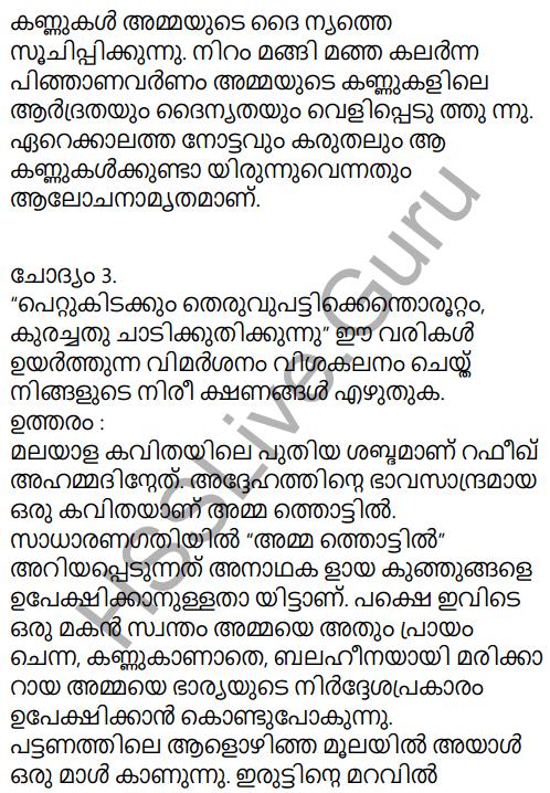 Adisthana Padavali Malayalam Standard 10 Solutions Unit 1 Chapter 3 Ammathottil 2