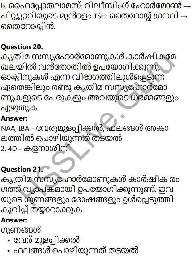 Kerala Syllabus 10th Standard Biology Solutions Chapter 3 Chemical Messages for Homeostasis in Malayalam 65