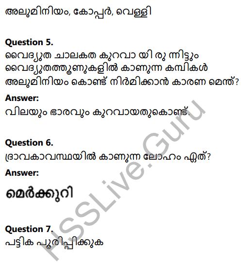 Kerala Syllabus 8th Standard Basic Science Solutions Chapter 7 Metals in Malayalam 10